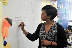 Devon Frazier is using I See Me Inc. to change the trajectory of students at schools in Fairfield, Midfield and Bessemer. (Karim Shamsi-Basha / Alabama NewsCenter)