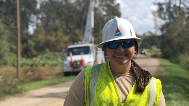 Alabama Power Distribution engineer Jodi Franklin on the job in the aftermath of Hurricane Michael. Franklin says storm restoration is the most rewarding part of her job. (contributed)