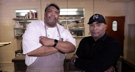 Chef Duane Nutter, left, and Reggie Washington are co-owners of Southern National in Mobile. (Bruce Nix / Alabama NewsCenter)