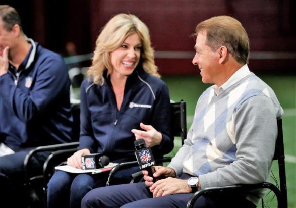 Nick Saban appears on the NFL Network during Crimson Tide Pro Day. (Kent Gidley/UA Athletics)