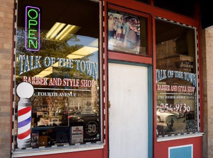 The exterior of the Talk of the Town Barber And Style Shop is shown in the 4th Avenue Distric. (Mark Almond)