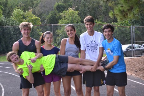 Amrita Lakhanpal, center, with her fellow seniors in cross country at Altamont. (Karim Shamsi-Basha/Alabama NewsCenter)