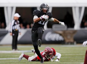 Iron WR Quinton Patton breaks a tackle and cuts upfield for a 16-yard gain. Patton pulled in two catches for 17 yards in the game. (Getty Images/The AAF)