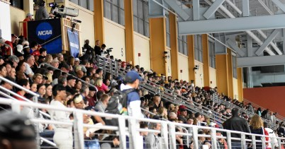 Fans pack the CrossPlex stands Friday night for the NCAA Division I indoor track and field championship. (Solomon Crenshaw Jr./Alabama NewsCenter)