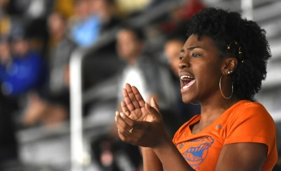 University of Florida junior Brandee Johnson cheers for Gators senior Yanis David in the long jump. (Solomon Crenshaw Jr./Alabama NewsCenter)