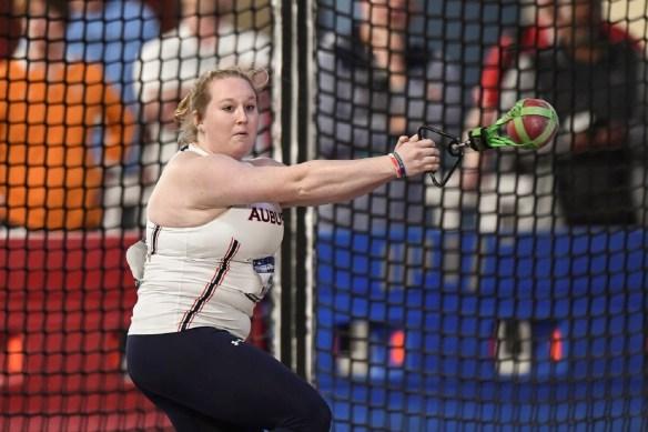 Auburn University's Madi Malone competes in the weight throw. (Wade Rackley/Auburn University Athletics)