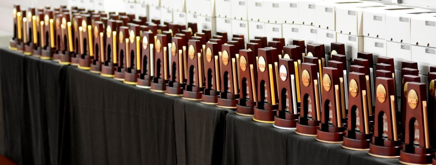 Trophies stand ready to be awarded to the NCAA Division I track and field winners. (Solomon Crenshaw Jr./Alabama NewsCenter)