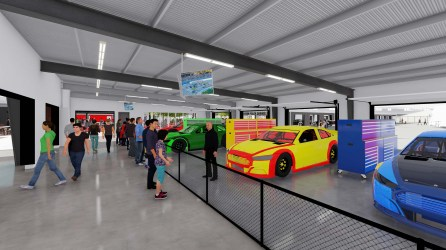 "NASCAR fans will be able to interact with drivers and crews in the new Talladega Garage Experience ""Celebration Plaza"" opening in October. (Talladega Superspeedway)"