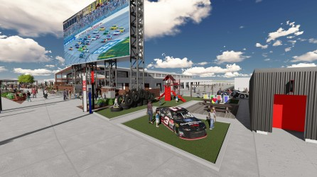 One of the new social areas that will be part of the Talladega Garage Experience opening in October. (Talladega Superspeedway)