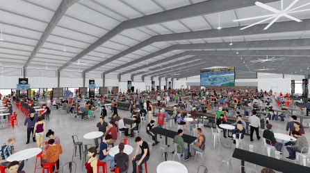 NASCAR fans will be able to interact with drivers and crews in the new Talladega Garage Experience Celebration Plaza opening in October. (Talladega Superspeedway)