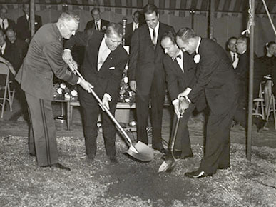 Rocket engineer Wernher von Braun, second from left, and Gov. John Patterson, far right, participate in the groundbreaking of the research institute at the University of Alabama in Huntsville. (From Encyclopedia of Alabama, Alabama Department of Archives and History)