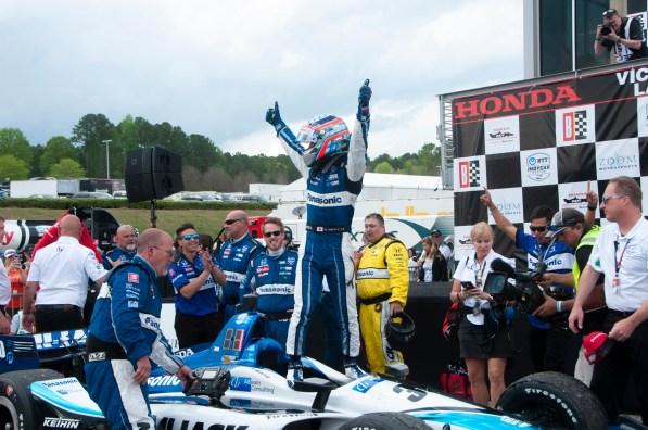 Takuma Sato celebrates after winning the 2019 Honda Indy Grand Prix of Alabama at Barber Motorsports Park. (Billy Brown/Alabama NewsCenter)