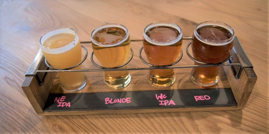 Four of Birmingham District Brewing Co.'s beers. The company produces eight year-round brews, plus seasonals. (Brittany Faush/Alabama NewsCenter)