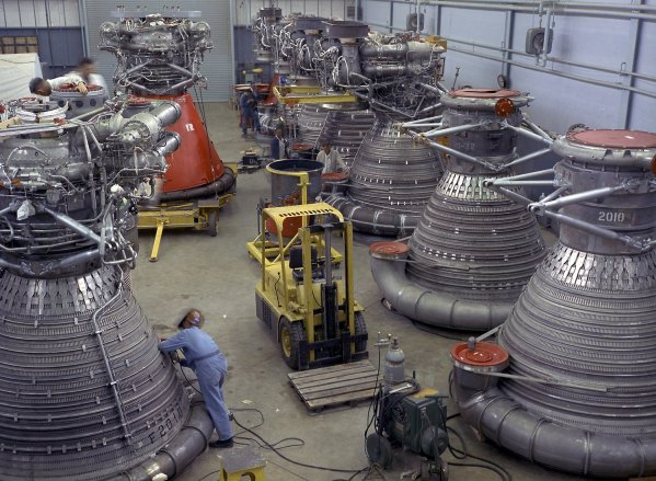 This vintage photo shows F-1 engines being stored in the F-1 Engine Preparation Shop at Marshall Space Flight Center. (NASA/Marshall)