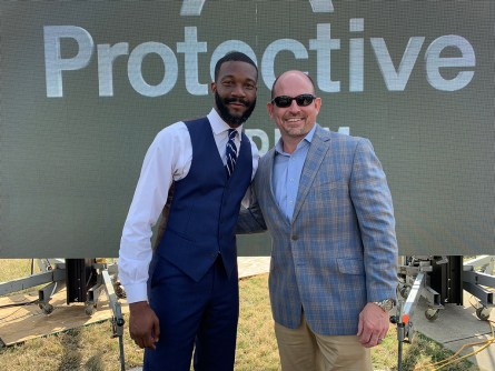 Birmingham Mayor Randall Woodfin, left, and UAB head football coach Bill Clark at the naming of the new multi-purpose stadium in downtown Birmingham. (Dennis Washington / Alabama NewsCenter)