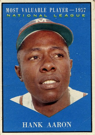 Hank Aaron was voted the National League's Most Valuable Player in 1957, a year in which he compiled a .322 batting average and hit 44 home runs for the Milwaukee Braves. (From Encyclopedia of Alabama, courtesy of Alabama Department of Archives and History)