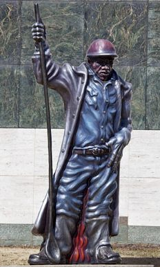 Steelworker, a statue by sculptor Eddie Luis Jimenez, is located in the sculpture garden of the Birmingham Museum of Art in downtown Birmingham. (From Encyclopedia of Alabama, courtesy of The George F. Landegger Collection of Alabama Photographs in Carol M. Highsmith's America, Library of Congress, Prints and Photographs Division)