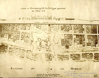 The 1725 map depicts the original Colonial-era size and location of Fort Condé in the town of Mobile when it was controlled by France. The top drawing shows the fort in profile. (From Encyclopedia of Alabama, photo courtesy of the National Aeronautics and Space Administration)