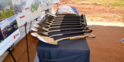 The stage is set for the ceremonial groundbreaking for YKTA, Alabama's newest addition to its roster of auto suppliers. (contributed)