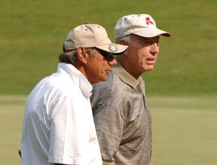 Joe Namath, left, and Bart Starr walk to the 18th green in the Thursday Pro Am at the 2005 Bruno's Memorial Classic (now the Regions Tradition) in Birmingham. (Photo by Al Messerschmidt/Getty Images)