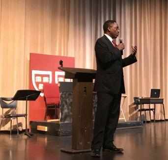 Gadsden Schools Superintendent Reddick addressed the students. (Donna Cope/Alabama NewsCenter)