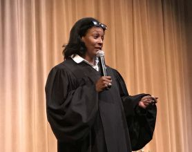 Tinker told students about career options available, including serving as a municipal court judge. (Donna Cope/Alabama NewsCenter)