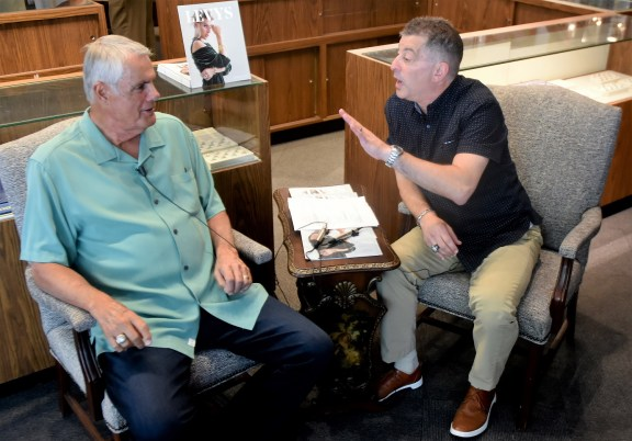 The Barons' Curt Bloom, right, interviews Lou Piniella. (Solomon Crenshaw Jr./Alabama NewsCenter)
