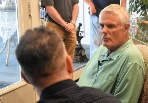 The Barons' Curt Bloom interviews Lou Piniella. (Solomon Crenshaw Jr./Alabama NewsCenter)