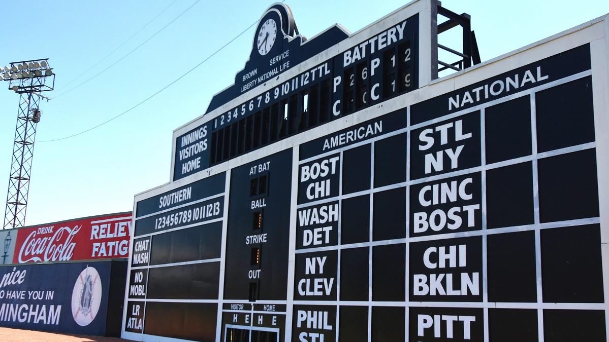 Keeping score: Manual scoreboard at Birmingham's Rickwood Classic keeps it old school