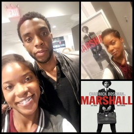 "Shumerria Harris with ""Black Panther"" star Chadwick Boseman. (Courtesy of Shumerria Harris)"