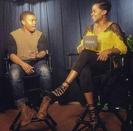 "Shumerria Harris interviews actor Marc John Jefferies on her TV show ""#ActorsLife."" (Courtesy of Shumerria Harris)"