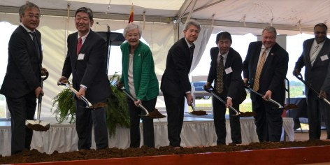 State, local and company officials commemorate the beginning of construction on YKTA's Huntsville factory, a supplier for Mazda Toyota Manufacturing U.S.A. (contributed)