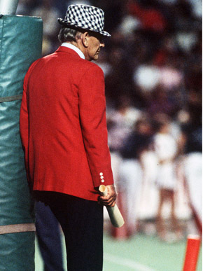 "Paul ""Bear"" Bryant (1913-1983) in his last appearance at Birmingham's Legion Field in 1982. At the time of his retirement, Bryant held the record for most wins as an NCAA Division I head coach. During the 1960s and 1970s, the University of Alabama Crimson Tide, under Bryant's coaching, earned six national championships and had three undefeated seasons. (From Encyclopedia of Alabama, courtesy of The Birmingham News)"