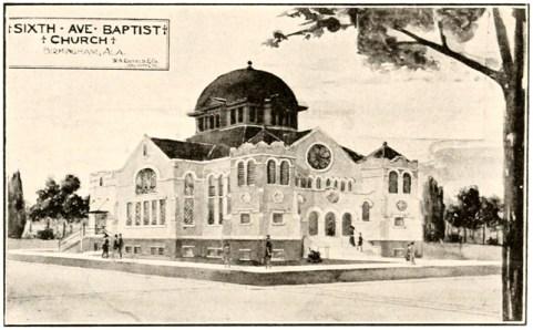 Rendering of Sixth Avenue Baptist Church. (From W.A. Rayfield, B.S., Birmingham, Ala. in Beacon Lights of the Race, Bhamwiki)