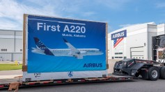 The first major parts for the Airbus A220 arrived in Mobile. (Airbus)
