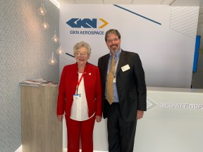 Gov. Kay Ivey poses with Mike McCann, CEO of GKN Aerospace, after talks at the 2019 Paris Air Show. (contributed)