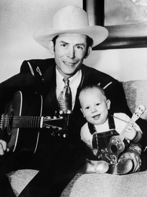 Hank Williams Sr. and Hank Williams Jr., c. 1950. Hank Williams Jr. was born to Hank and Audrey Williams on May 26, 1949, in Shreveport, Louisiana. At 8 years of age, Hank Jr. was touring and playing his father's songs, and at age 11 he made his first appearance at the Grand Ole Opry. (From Encyclopedia of Alabama, courtesy of Hank Williams Boyhood Home/Museum)