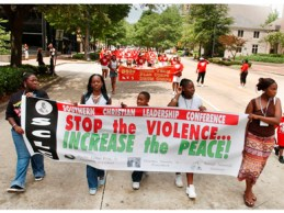 A Southern Christian Leadership Conference Stop the Violence March and Rally held in Birmingham in July 2005. The organization was founded in 1957 by the Rev. Martin Luther King Jr. and other religious leaders to fight segregation in the South. (From Encyclopedia of Alabama, courtesy of The Birmingham News)