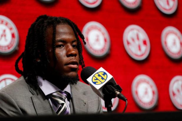 Crimson Tide wide receiver Jerry Jeudy talks to the media at SEC Media Days 2019. (Kent Gidley / UA Athletics)