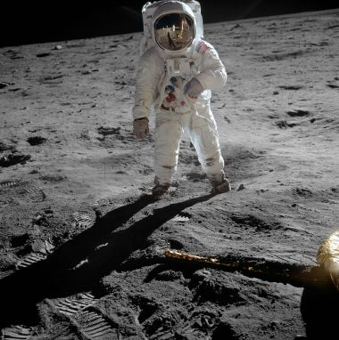 Astronaut Buzz Aldrin stands on the surface of the moon near the leg of the lunar module, Eagle, during the Apollo 11 moonwalk. Astronaut Neil Armstrong took this photograph with a 70mm lunar surface camera on July 21, 1969. (NASA, Wikipedia)