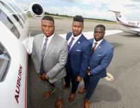 Derrick Brown, Prince Tega Wanogho and Marlin Davidson at SEC Media Days. (Todd Van Emst/AU Athletics)