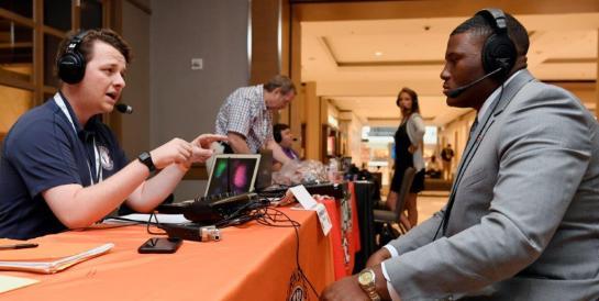 Derrick Brown on radio row. (Todd Van Emst/AU Athletics)