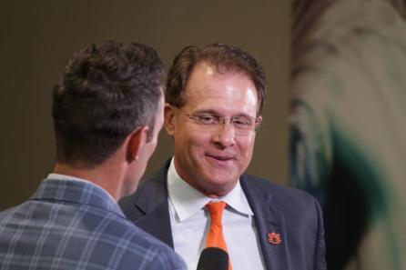 Auburn coach Gus Malzahn is interviewed at SEC Media Days 2019. (Bruce NIx / Alabama NewsCenter)