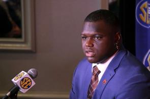 Marlon Davidson answers questions during SEC Media Days in Hoover. (Bruce Nix / Alabama NewsCenter)
