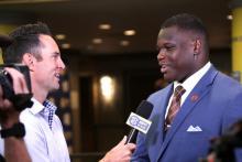 Marlon Davidson speaks to ESPN during SEC Media Days in Hoover. (Bruce Nix / Alabama NewsCenter)
