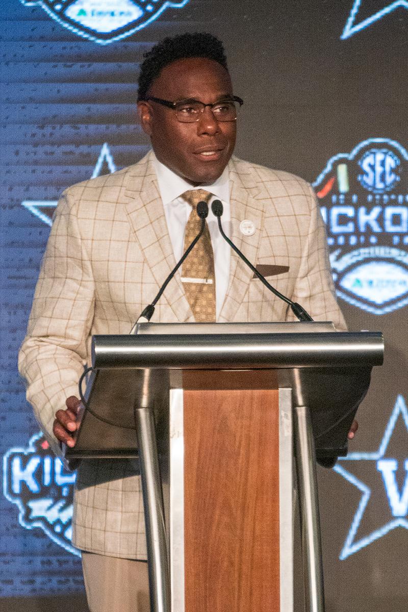 Vanderbilt coach Derek Mason speaks at SEC Media Days 2019. (Dennis Washington / Alabama NewsCenter)