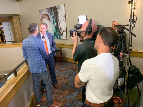 Auburn coach Gus Malzahn speaks at SEC Media Days 2019. (Dennis Washington / Alabama NewsCenter)