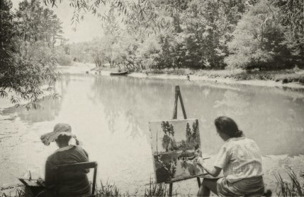 Dixie Art Colonists work on plein air painting at Lake Jordan. (contributed)