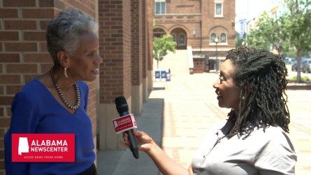 Andrea Taylor speaks with Keisa Sharpe-Jefferson outside the Birmingham Civil Rights Institute. (Dennis Washington / Alabama NewsCenter)