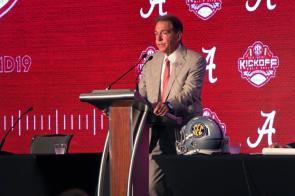 Alabama coach Nick Saban speaks at SEC Football Media Days 2019. (Bruce Nix / Alabama NewsCenter)